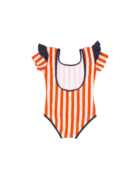 3dc9c0c133ec Tiny Cottons Striped Frill Swimsuit Blue Red White Plavky s volánikom  červené modré biele prúžkované dievčenské