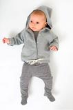 Baby Hoodie Cardigan Grey Melange