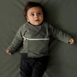 Gray Label AW19 Baby Cardigan na zaväzovanie Machovo-Zelený