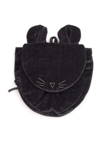 Mouse in a House AW18 Čierny zamatový ruksak s uškami