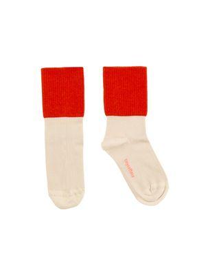 tinycottons SS18 Vrúbkované Ponožky bielo-červené