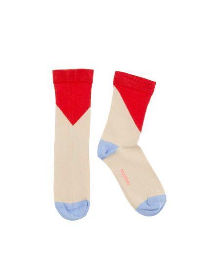 tinycottons SS18 Ponožky s geometrickým vzorom červené
